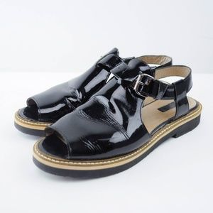Topshop Sandals Peep Toe Patent Leather Buckle